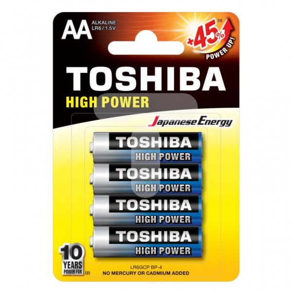 Элемент питания (батрейка)  TOSHIBA LR036GCP BP-4 High Power Alcaline (КНР)